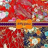 Souarts 5Pcs Tissus Patchwork Bronzage à la Japonaise Carrés de Tissu de Coton Tissu Bundle DIY Tissu pour la Couture de Bric