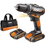 WORX WX170 Akkuschrauber 20V - 30Nm, 2-Gang-Getriebe & LED-Licht – Akkubohrschrauber Set zum Bohren & Schrauben - mit 2 Li-Ion Akkus, Ladegerät & Werkzeug Tasche
