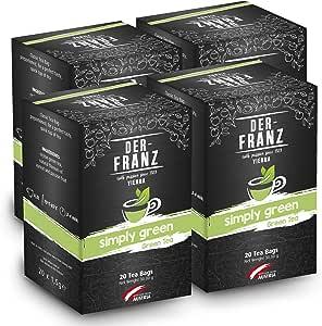 """Der Franz, tè verde """"Simply Green"""" aromatizzato naturalmente in bustina classica, 4 confezioni (20 x 1,5 g)"""