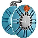 GARDENA Dévidoir mural Classic 60 avec guide-tuyau : enrouleur de tuyau pour montage mural simple, avec raccord anti-goutte,