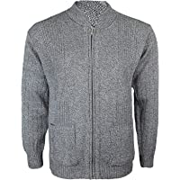 Miss Trendy Mens Classic Zip Up Vintage Plain Knitted Grandad Cardigan Jumper UK M - 4XL