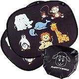 Fluffy's World Tendine parasole Auto bambini - con protezione UV -con foglio adesivo statico - tendina parasole auto tendina