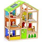 All Seasons Kids Wooden Dollhouse by Hape | Award Winning 3 Story Dolls House Toy with Furniture, Accessories, Movable Stairs