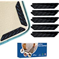 Jesties Pack of 10 Anti-Slip and Reusable Rug Grippers for Wooden and Hard Floors, Washable Rug Pads or Carpet Stickers…