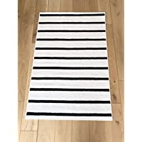 Baby Nursery Rug with Latex Backing 100 X 150cm Black and White Stripes