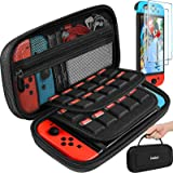 ivoler Carry Case for Nintendo Switch, Black Protective Portable Hard Shell Pouch Carrying Travel Game Bag with 2 packs scree