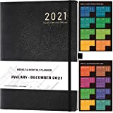 2021 Diary –Diary 2021 A4 Week to View from January 2021 to December 2021 with Stickers, Leather Cover, Thick Paper…