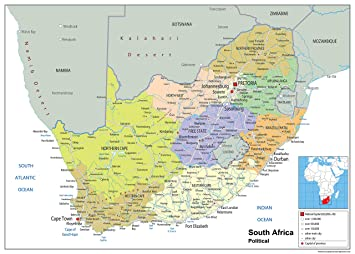 South Africa Political Map Paper Laminated A Size X - South africa political map