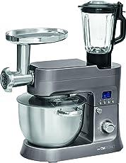 Clatronic KM 36744in1della cucina Impastatrice con tritacarne, di vetro Mix Aufsatz, Pasta, funzione Digital Display LCD, 6,2L in acciaio inox Ciotola, 1200W, Titanio