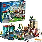 LEGO 60292 City Le Centre-Ville, Jeu de Construction avec Moto, Bicyclette, Camion, plaques routières et 8 Miniatures