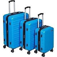 Amazon Basics Valise de voyage à roulettes pivotantes, Bleu clair, Lot de 3 valises (55 cm, 68 cm, 78 cm)