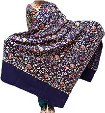 Varun Cloth House Women's Woollen Kashmiri Aari Zaal Embroided Shawl (vch3795_Navy_Free Size)