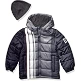LONDON FOG Baby Boys' Color Blocked Puffer Jacket Coat with Hat