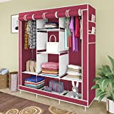 GTC® 6+2 Layer Collapsible Wardrobe for Clothes 88130 (with Pocket, Maroon) 126cmX42.5cmX166cm