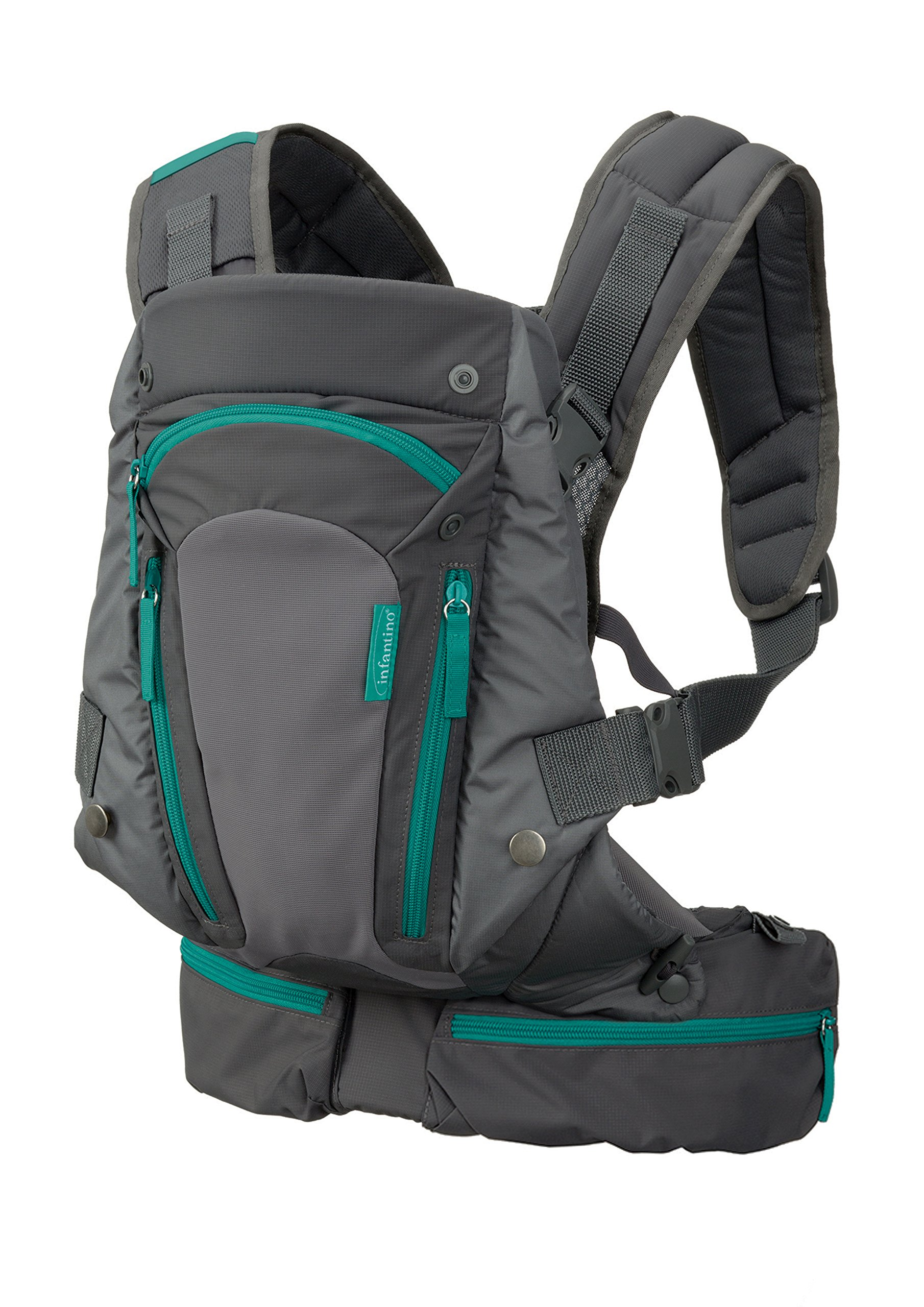 Infantino Carry On Carrier, Grey, One Size Infantino Fully safety tested 4 way carrier  with multiple storage pockets Facing in newborn & m position 1