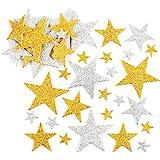 Baker Ross Pegatinas de Estrellas con Purpurina en Color Dorado y Plateado (Paquete de 150) Para decorar manualidades infanti