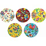"""Real Art Wall Hanging Plates 7""""-5 pcs Hand Painted Flowers Gift Packing"""