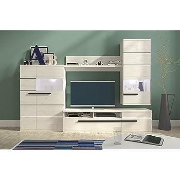 Mb Moebel Moderne Wohnwänd Wohnzimmer Möbel Schrankwand Mit LED Beige Weiß  Hochglanz Erie