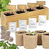 ONVAYA® Kit de Cultivo de Hierbas con Caja de Madera   Kit de Cultivo   Mini jardín de Hierbas   Juego de jardín de Hierbas c