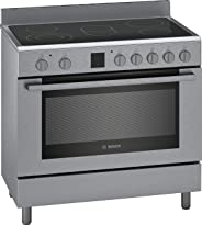 Bosch Serie | 8, 90X60 cm, 5 High Speed Ceramic Cooking Zones Electric Range Cooker, Stainless Steel - HKK99V850M