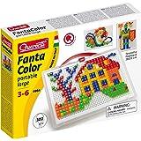 Quercetti - Grand jeu de composition portable Fanta Color, multicolore, 300 pièces, 0954, 3 - 6 ans