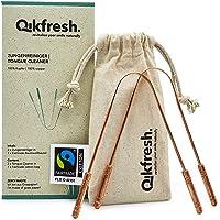 Qikfresh - 2x Gratte-langues 100% cuivre pur, avec sac Fairtrade-coton équitable   Nettoyeur de langue antibactérien…