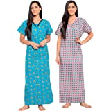 Fabme Women's Cotton Printed Nighty (Pack of 2)
