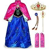 JerrisApparel Niña Princesa Anna Disfraz Fiesta de Cosplay Lujo Vestido