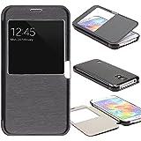 Urcover® View Case Handy Schutz-Hülle | Samsung Galaxy S5 Mini | Hart Kunststoff Schwarz | Elegant Wallet Cover Sicht…