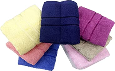Bombay Dyeing Cotton 7 Piece Hand Towel Set (Small, Yellow, Blue, Pink, BD3883)