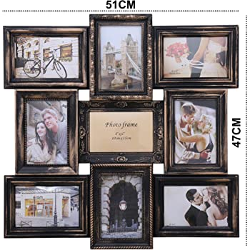 Kurtzy Antique Style Collage Family PhotoFrame - Size 6X4 4Photos 4X6 5Photos LXH 51X47CM Black