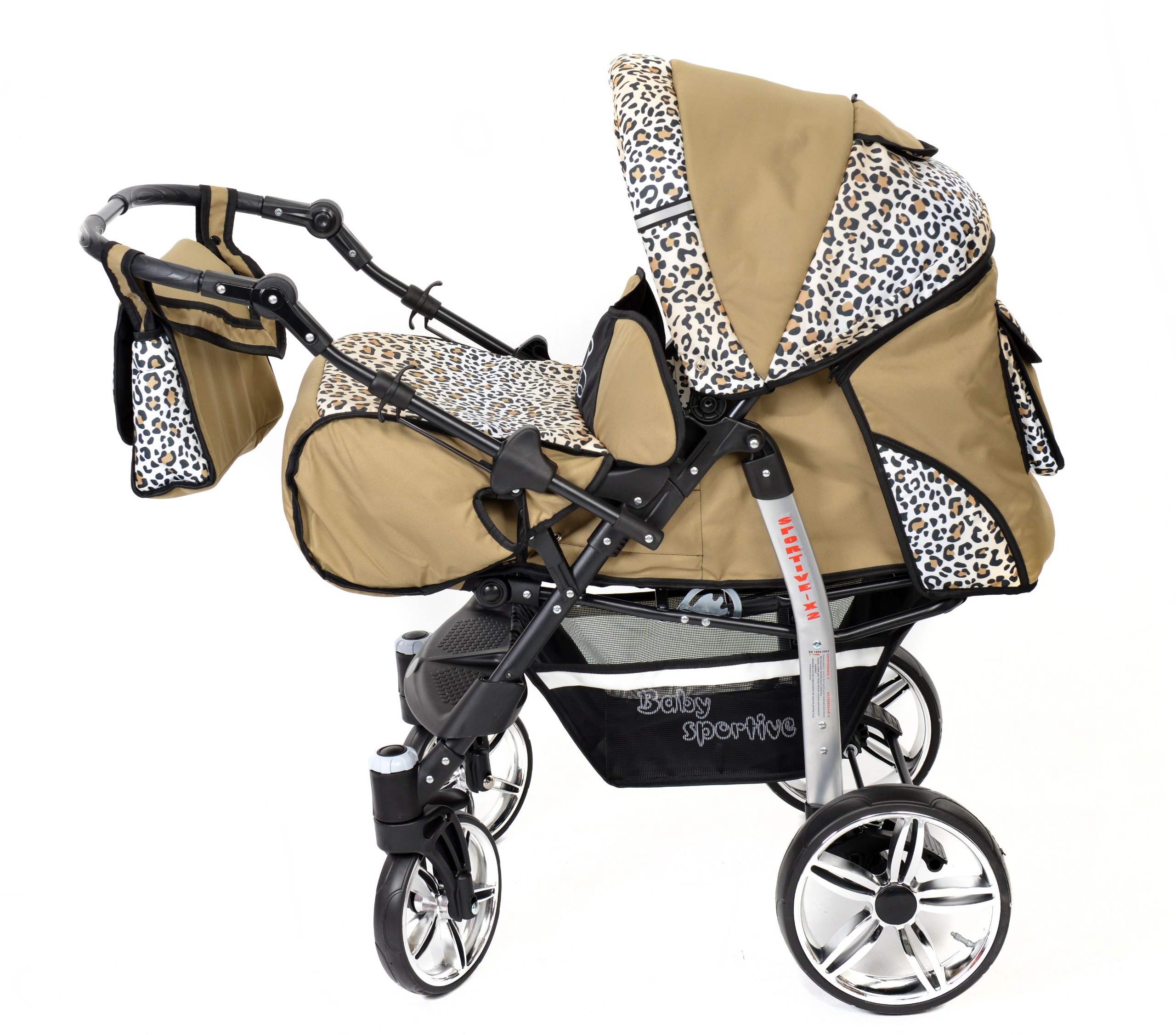 Sportive X2, 3-in-1 Travel System incl. Baby Pram with Swivel Wheels, Car Seat, Pushchair & Accessories (3-in-1 Travel System, Beige & Leopard) Baby Sportive 3 in 1 Travel System All in One Set - Pram, Car Carrier Seat and Sport Buggy + Accessories: carrier bag, rain protection, mosquito net, changing mat, removable bottle holder and removable tray for your child's bits and pieces Suitable from birth, Easy Quick Folding System; Large storage basket; Turnable handle bar that allows to face or rear the drive direction; Quick release rear wheels for easy cleaning after muddy walks Front lockable 360o swivel wheels for manoeuvrability , Small sized when folded, fits into many small car trunks, Carry-cot with a removable hood, Reflective elements for better visibility 2