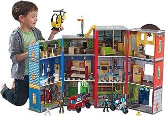 KidKraft 63239 Everyday Heroes Spielset aus Holz für Kinder mit Zubehör inklusiv Feuerwehrauto, Polizeiauto, Helikopter und Actionfiguren