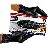 ULITH 200 Stück Schwarze Nitril Einweghandschuhe ungepudert Verschiedene Größen (S, schwarz)