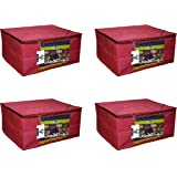 """Virtue Saree Cover Storage Bag Big for Clothes with Zip Organizer for Wardrobe, Set of 4, Non Woven Fabric Cloth 9"""" Height La"""