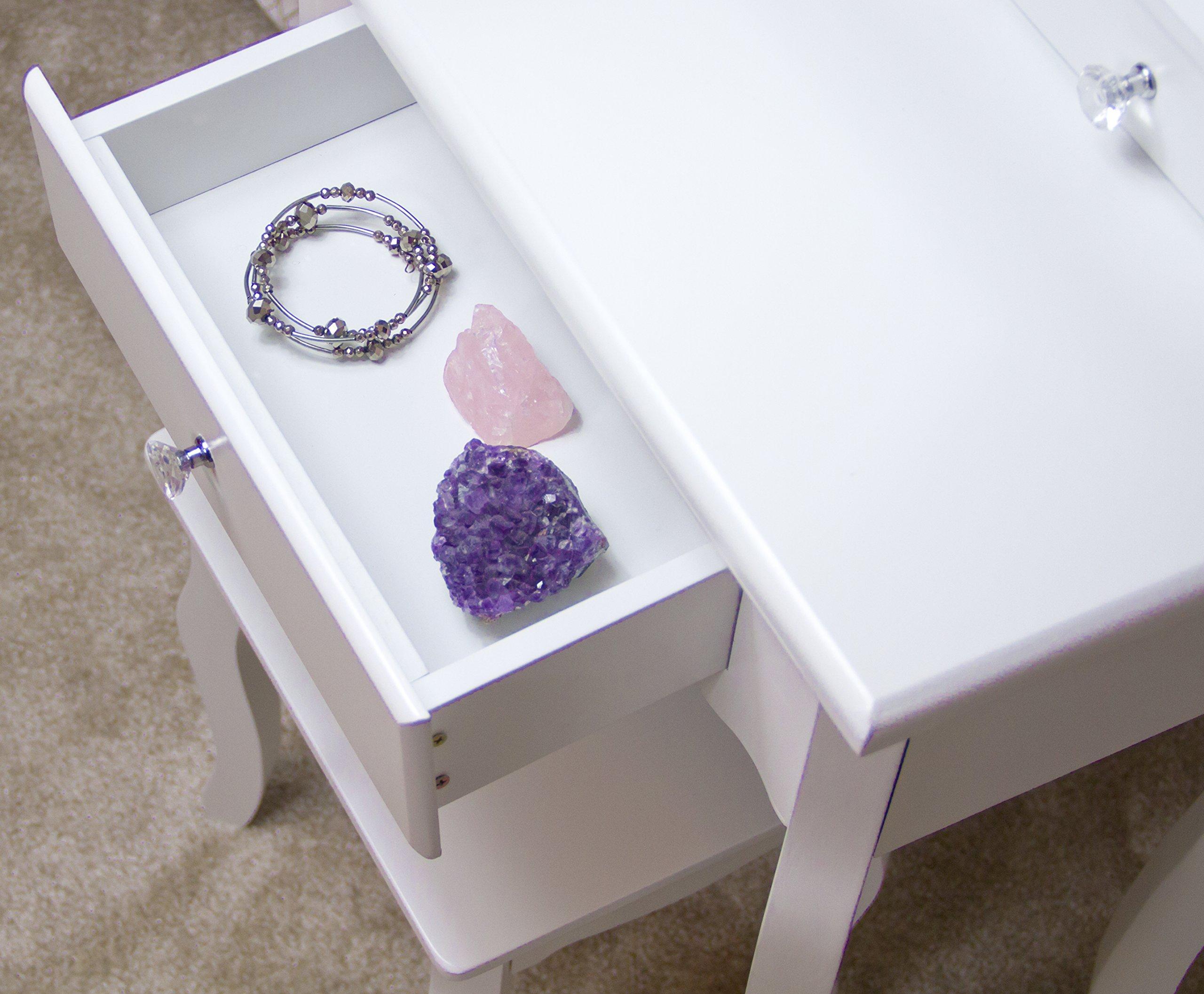 Runesol mobile per il trucco per ragazze con sgabello e specchio