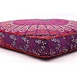 Handicraft-Palace Grote Pauw Mandala Vloerkussen Indische Vierkante Kussensloop Ottomaanse Oversized Dagbed Sofa Etnische Poe