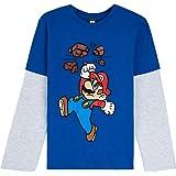 Super Mario T Shirt per Bambino, Maglietta Manica Lunga Nintendo, Abbigliamento Ragazzo, Magliette in Cotone per Bimbo 3-13 A