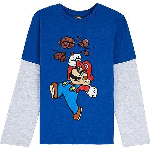 Super Mario T Shirt per Bambino, Maglietta Manica Lunga Nintendo, Abbigliamento Ragazzo, Magliette in Cotone per Bimbo 3-13 Anni, Idea Regalo Compleanno