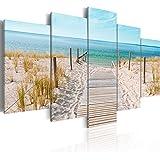 murando Cuadro en Lienzo Playa Mar 200x100 cm Impresión de 5 Piezas Material Tejido no Tejido Impresión Artística Imagen Gráf