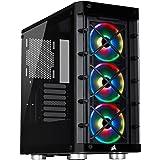Corsair iCUE 465X RGB Mid-Tower ATX Smartes Gehäuse (Seiten und Frontscheibe aus gehärtetem Glas, 3 integrierte LL120…
