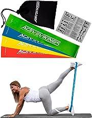 ActiveVikings Women's Set 4-Stärken by Ideal für Muskelaufbau Physiotherapie Pilates Yoga Gymnastik und Crossfit | Fitnessband Gymnastikband Widerstandsbänder, Länge: 30cm Breite: 5cm