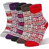 RenFox - Calcetines de invierno para mujer, 5 pares de calcetines de lana, calcetines de punto para mujer, de algodón, talla