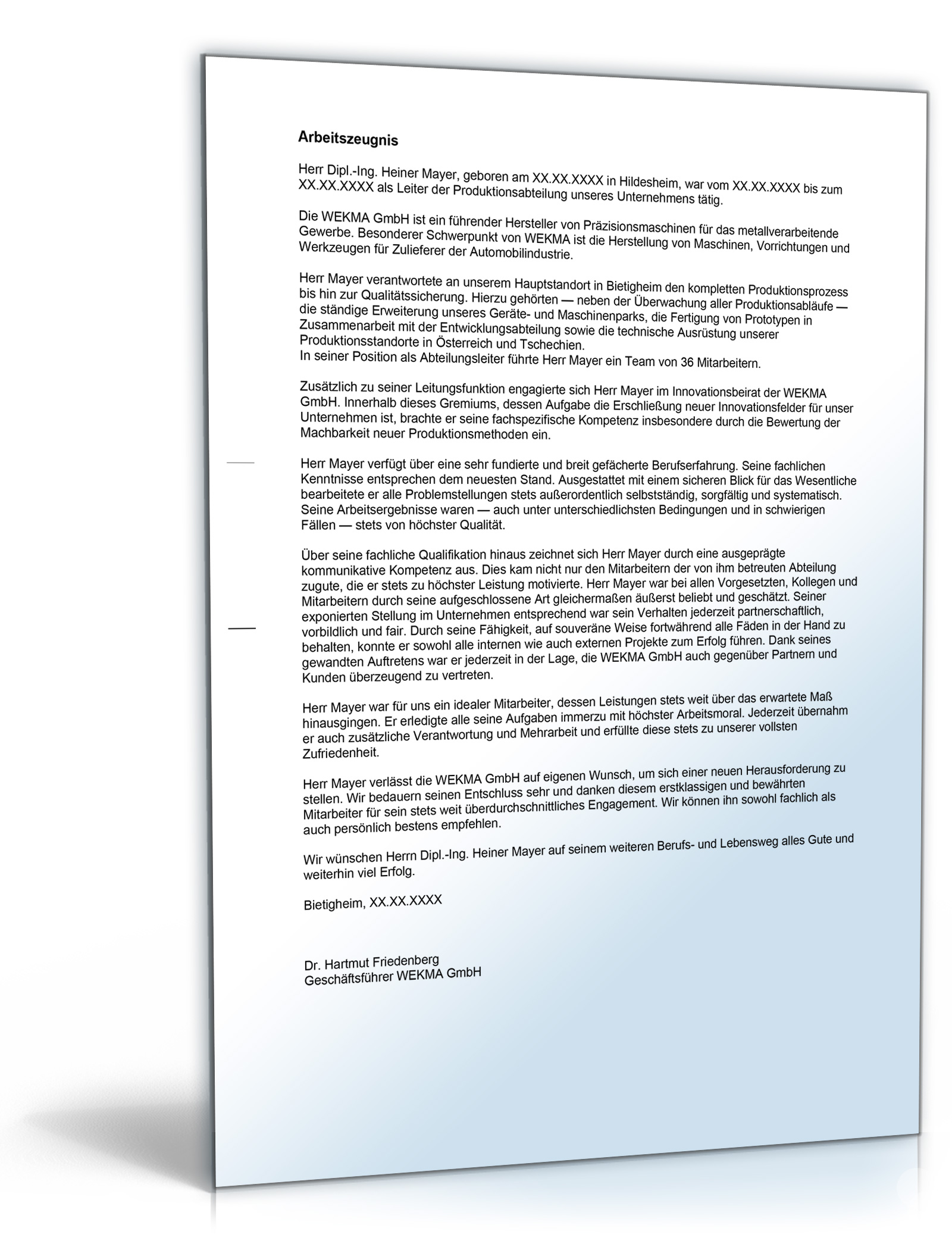 Arbeitszeugnis Führungskraft Note Eins zum Download [Word Dokument] (Unternehmen Legal Software)