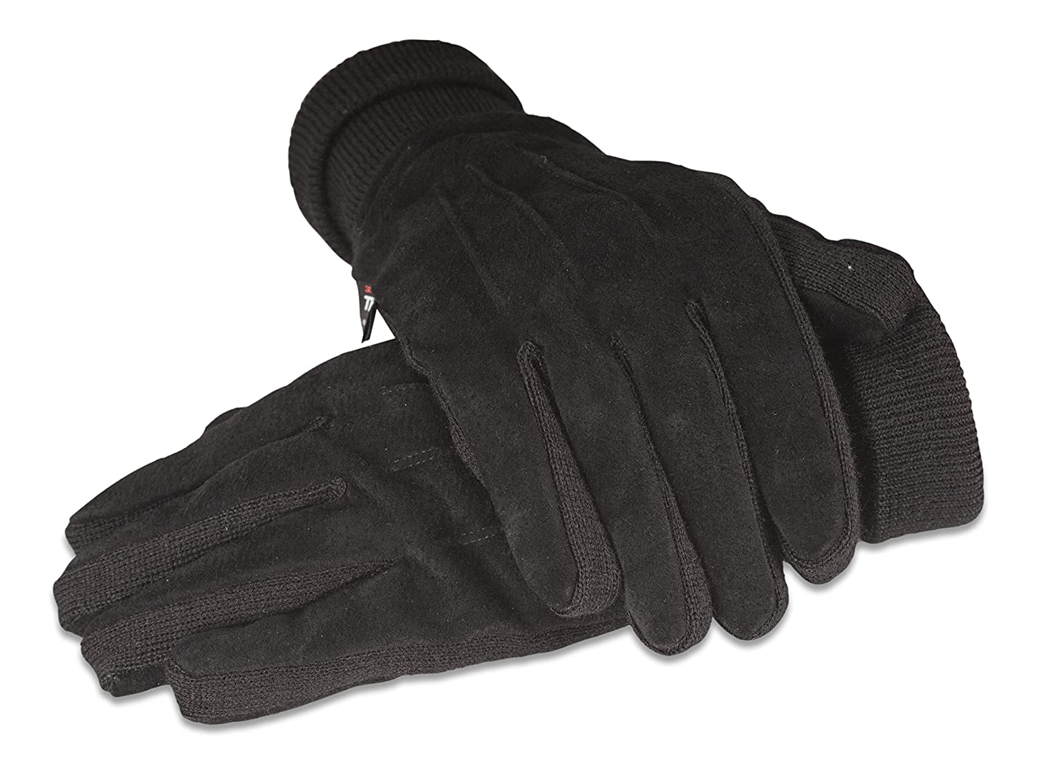Ladies thermal leather gloves uk - Quivano Mens Suede Leather Thermal Thinsulate Lined Gloves With Elasticated Cuff For Winter 321 200 Medium Black Amazon Co Uk Clothing