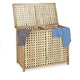 Relaxdays Panier à linge en bois de noyer double corbeille vêtements avec couvercle tri bac HxlxP 46,1 x 87,9 x 68,1 cm 2 com