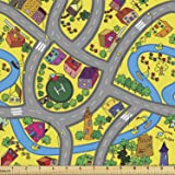 Ambesonne Car Race Track Fabric by The Yard, Abstract Roadway Activity Illustration with River Intersecting Roads, Decorative