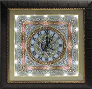 eCraftIndia Decorative Marble Wall Watch with Wooden Frame (17 in, Multicolor)