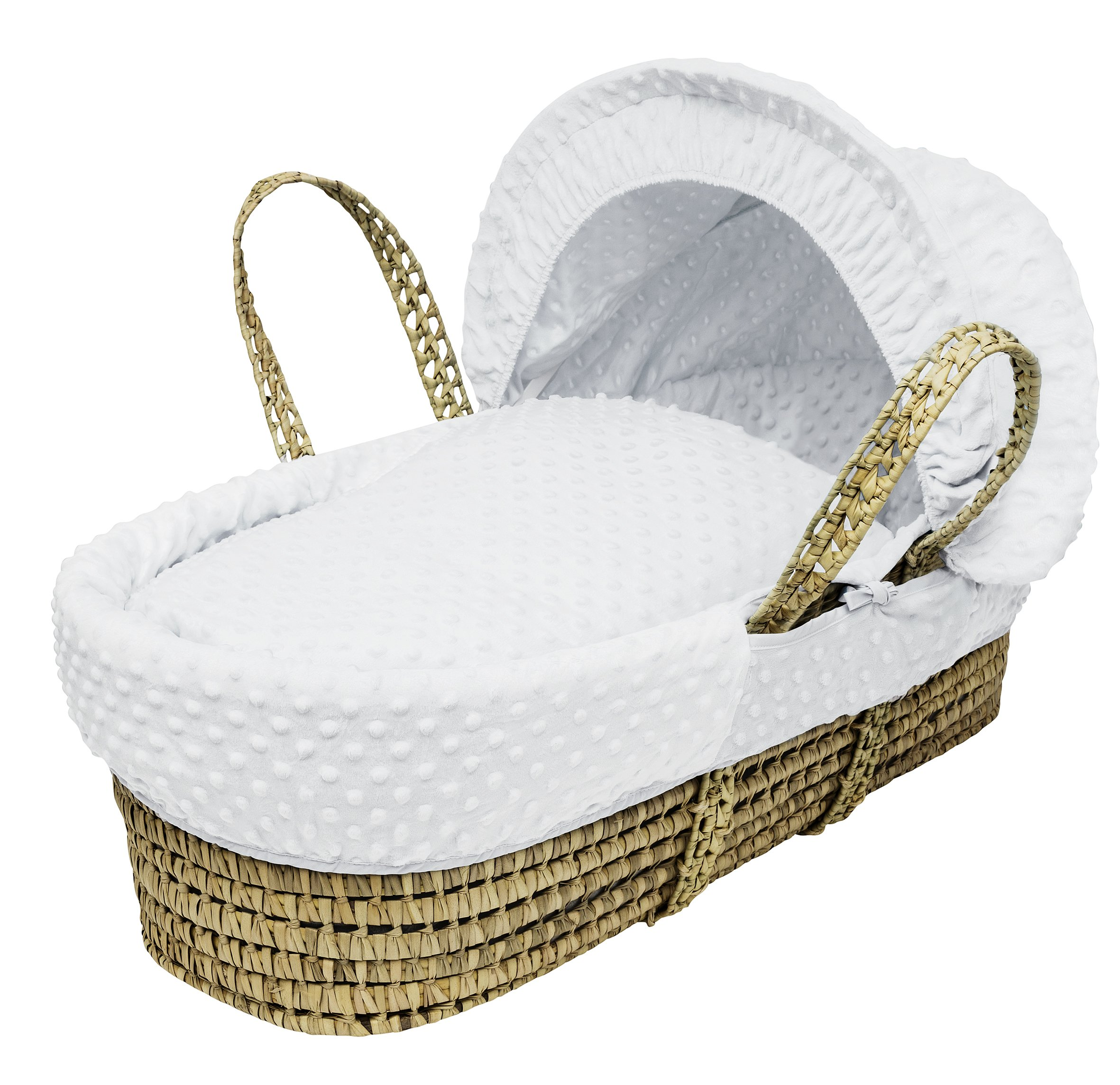 White Dimple Moses Basket Dressings only(Basket not included) Elegant Baby Dressings For Moses Baskets Includes Padding,Quilt, Liner,Fabric Hood Basket and Mattress and Hood bars are NOT included 1