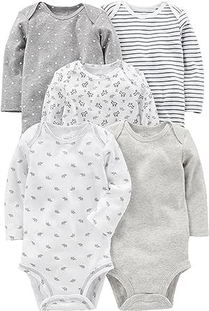 Simple Joys by Carter's 5-Pack Neutral Long-Sleeve Bodysuit Mixte bébé, Lot de 5